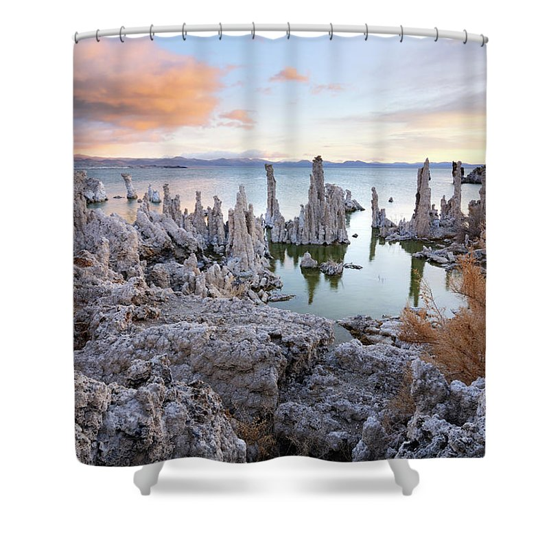 Water's Edge Shower Curtain featuring the photograph Big Cloud Above Tufas On Mono Lake by Rezus