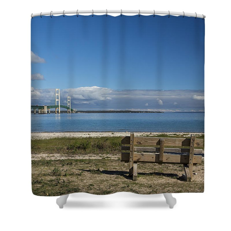 Bridge Shower Curtain featuring the photograph Big Mackinac Bridge 70 by John Brueske