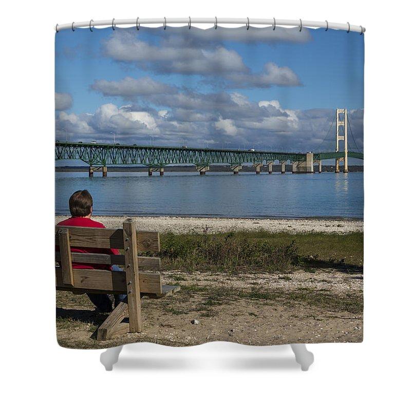 Bridge Shower Curtain featuring the photograph Big Mackinac Bridge 71 by John Brueske