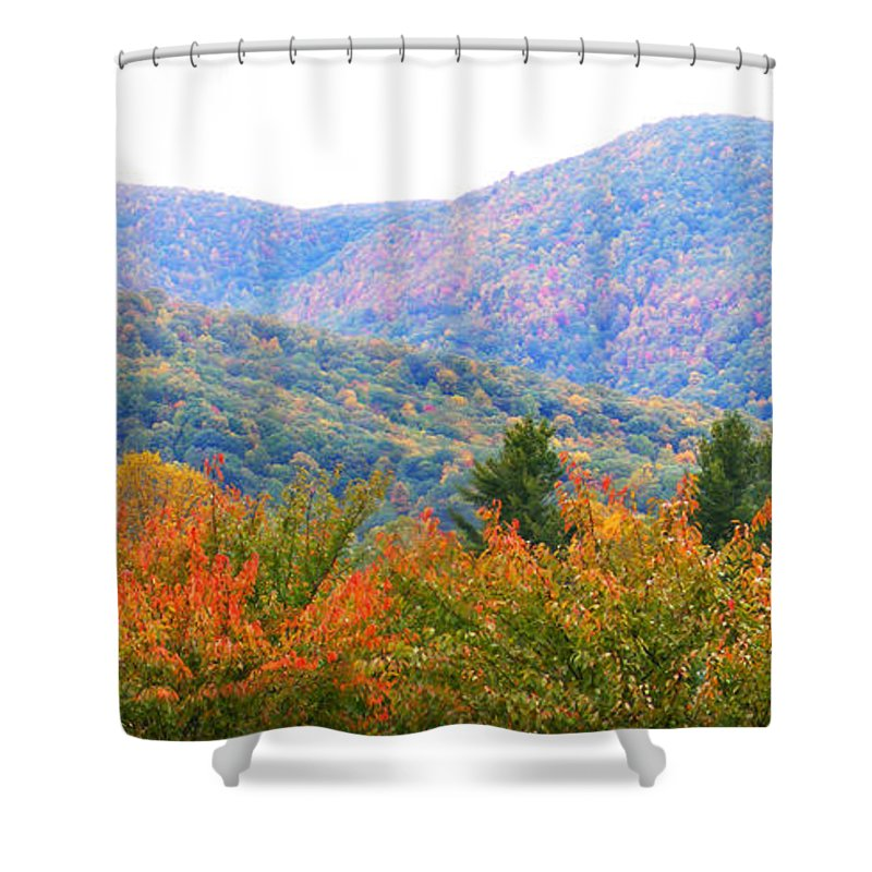 Duane Mccullough Shower Curtain featuring the photograph Big Pisgah Mountain In The Fall by Duane McCullough