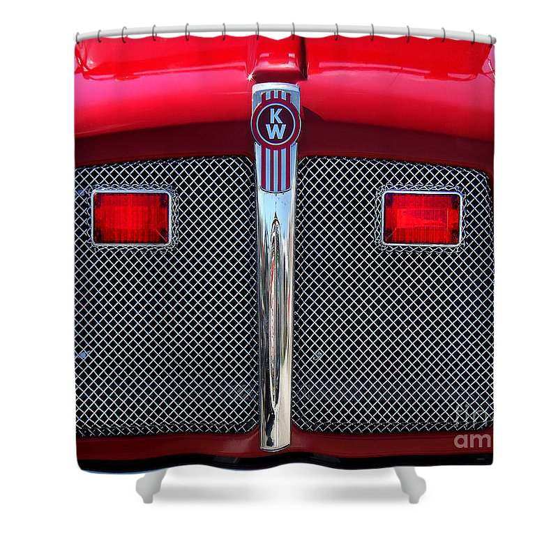 Fire Shower Curtain featuring the photograph Big Red Fire Truck by CK Caldwell