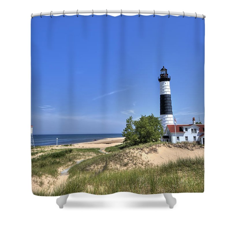 Michigan Shower Curtain featuring the photograph Big Sable Point Light by Scott Wood