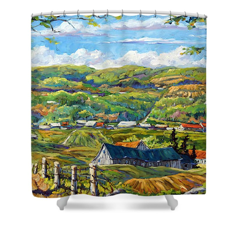 Landscape From Quebec Shower Curtain featuring the painting Big Valley By Prankearts by Richard T Pranke