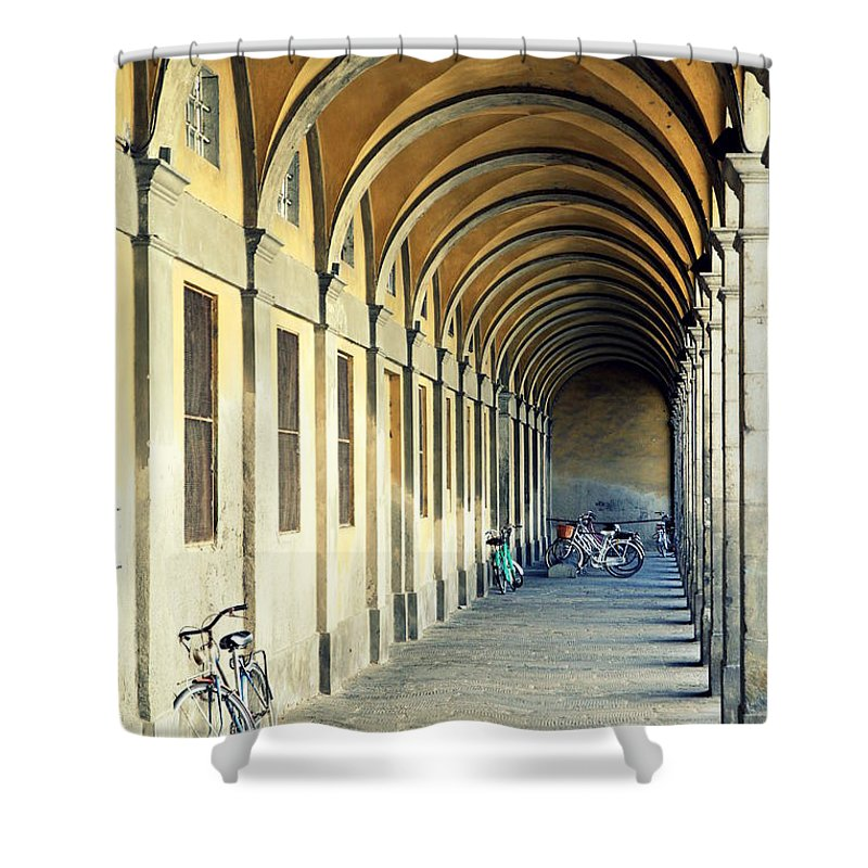 Italy Shower Curtain featuring the photograph Bikes Under The Porch by Valentino Visentini