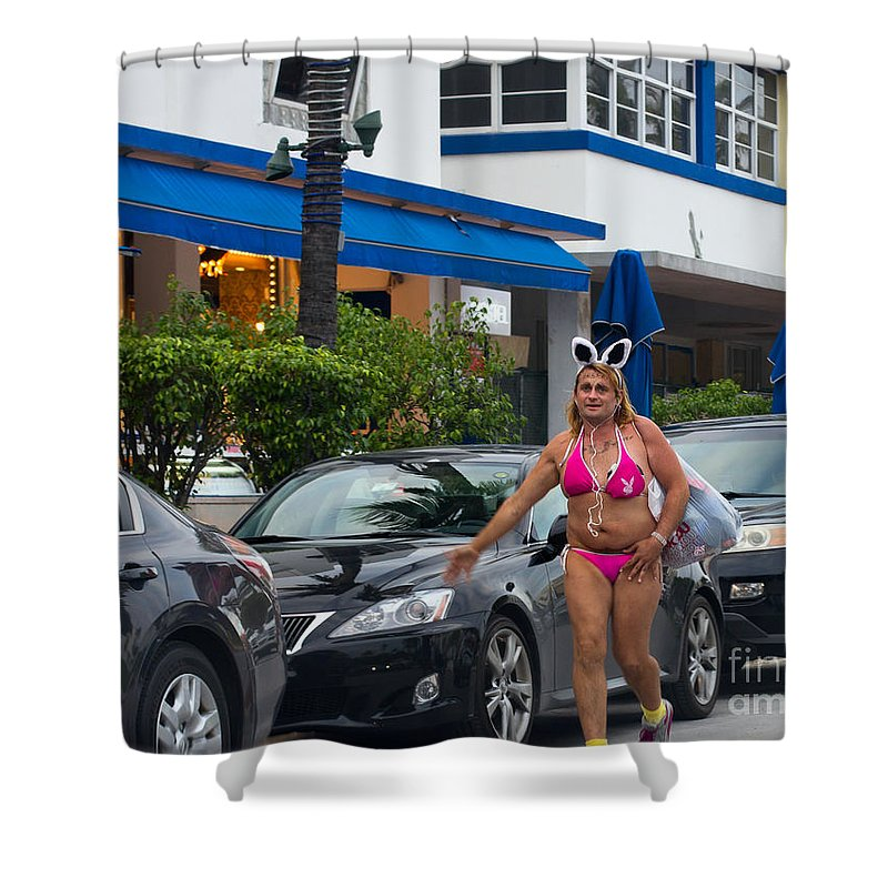 Playboy Shower Curtain featuring the photograph Bikini Bunny In Miami by Les Palenik