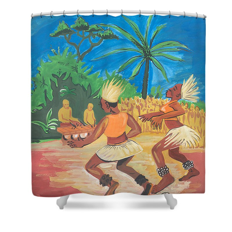 Barry Art Shower Curtain featuring the painting Bikutsi Dance 2 From Cameroon by Emmanuel Baliyanga