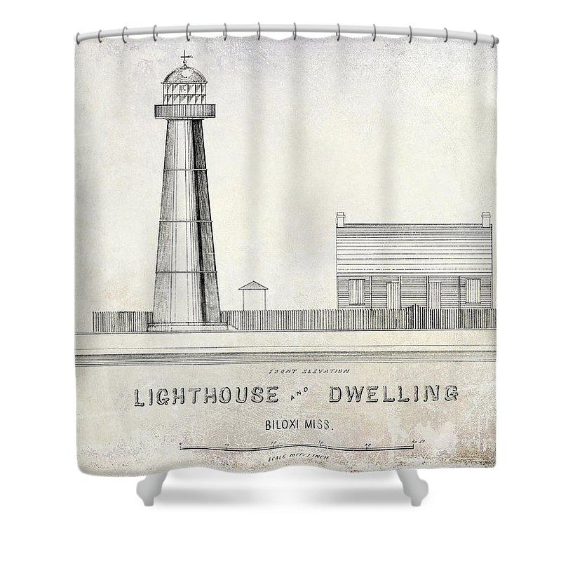 Biloxi Lighthouse Drawing Shower Curtain For Sale By Jon Neidert