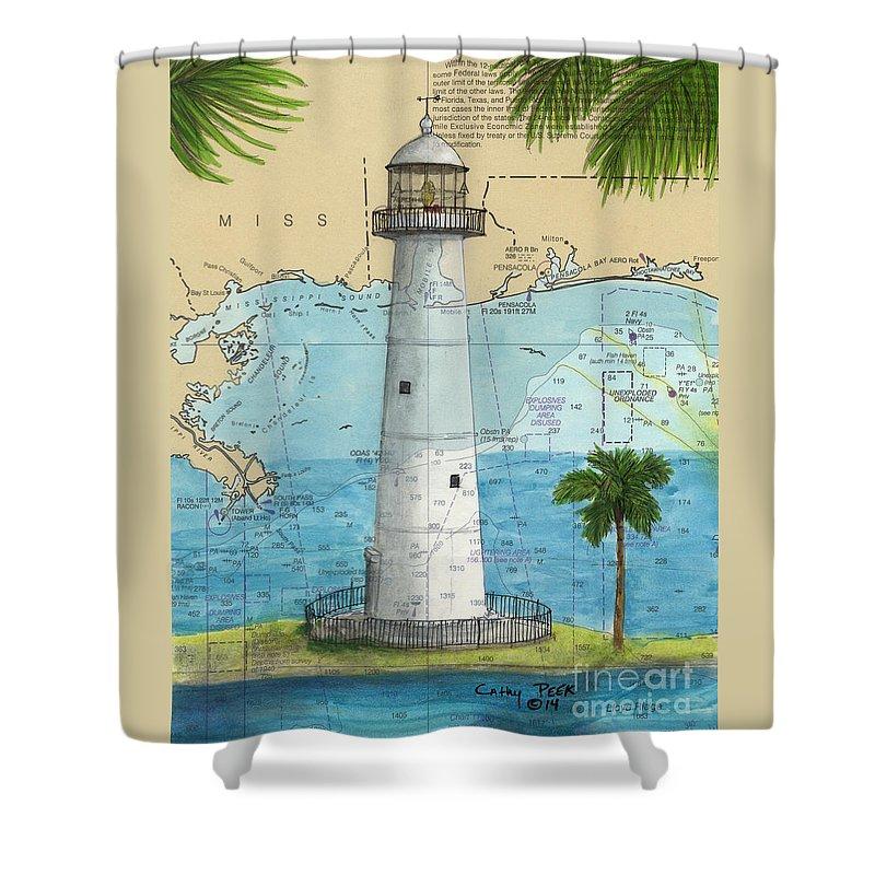 Biloxi Lighthouse Ms Nautical Chart Art Cathy Peek Shower