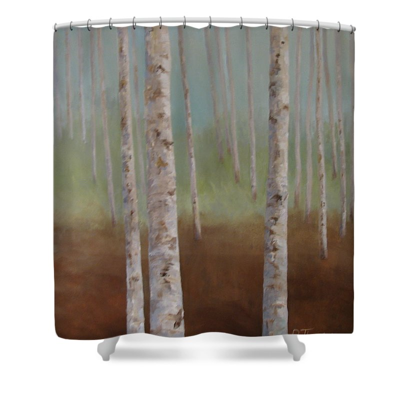 Landscape Painting Shower Curtain featuring the painting Birch In The Mist by Pat Thomson