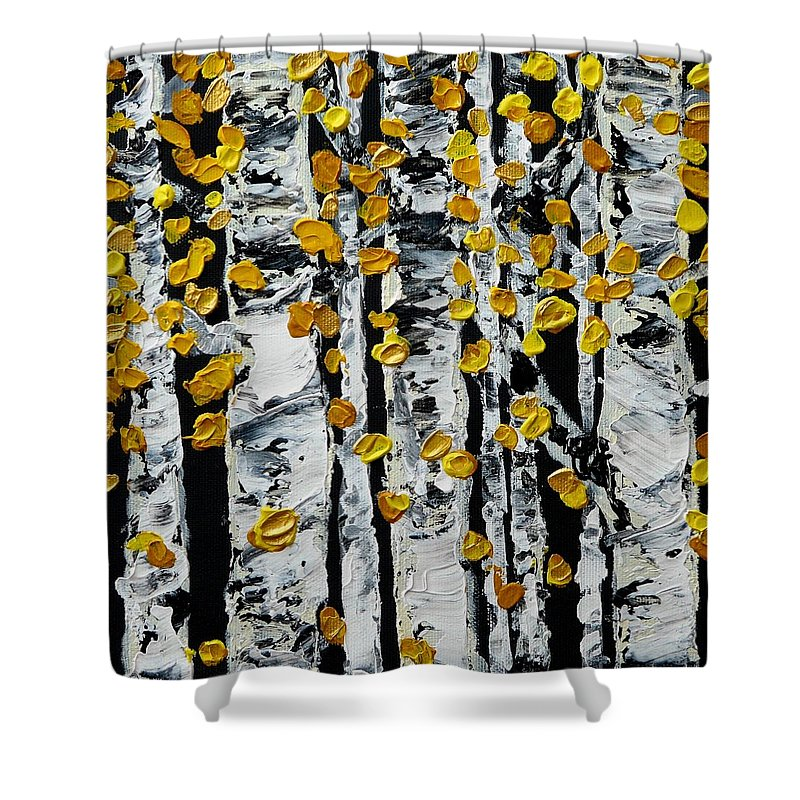Birch Shower Curtain featuring the painting Birch Study Fall by Valerie Ornstein