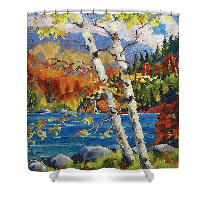 Art Shower Curtain featuring the painting Birches By The Lake by Richard T Pranke