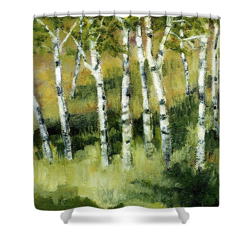 Trees Shower Curtain featuring the painting Birches On A Hill by Michelle Calkins