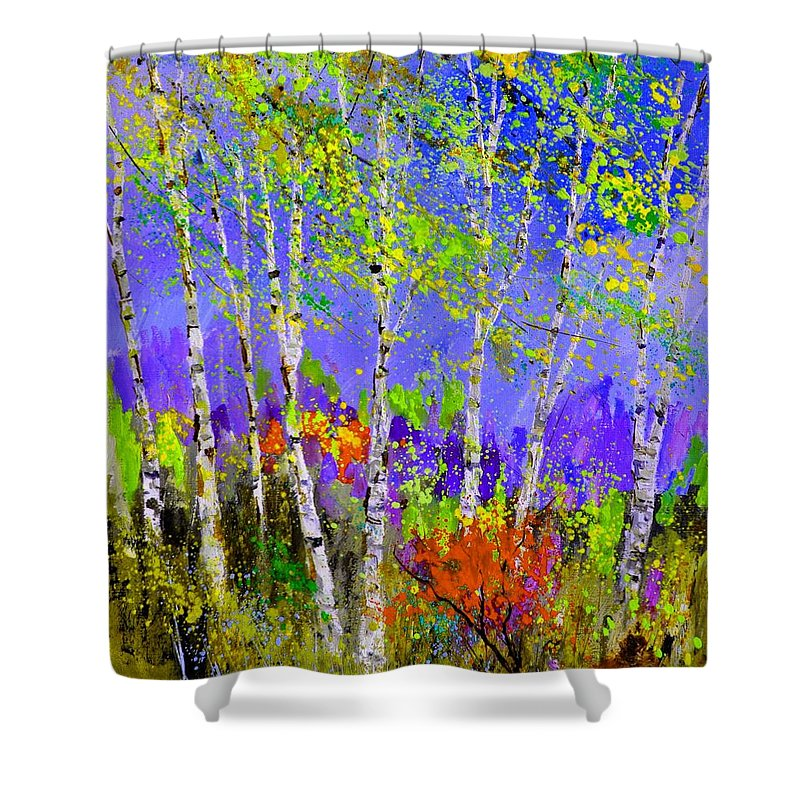 Landscape Shower Curtain featuring the painting Birchtrees 56412 by Pol Ledent