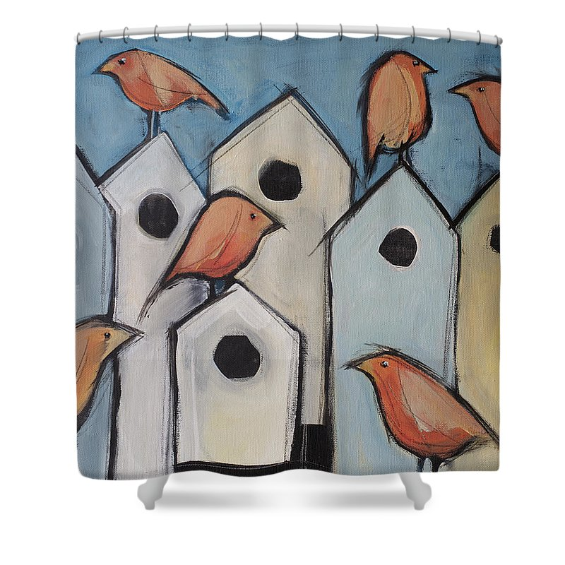 Bird Shower Curtain featuring the painting Bird Condo Association by Tim Nyberg