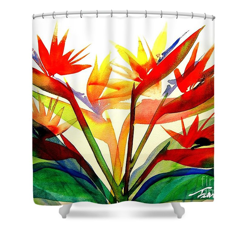 Nature Shower Curtain Featuring The Painting Bird Of Paradise By Frances Ku