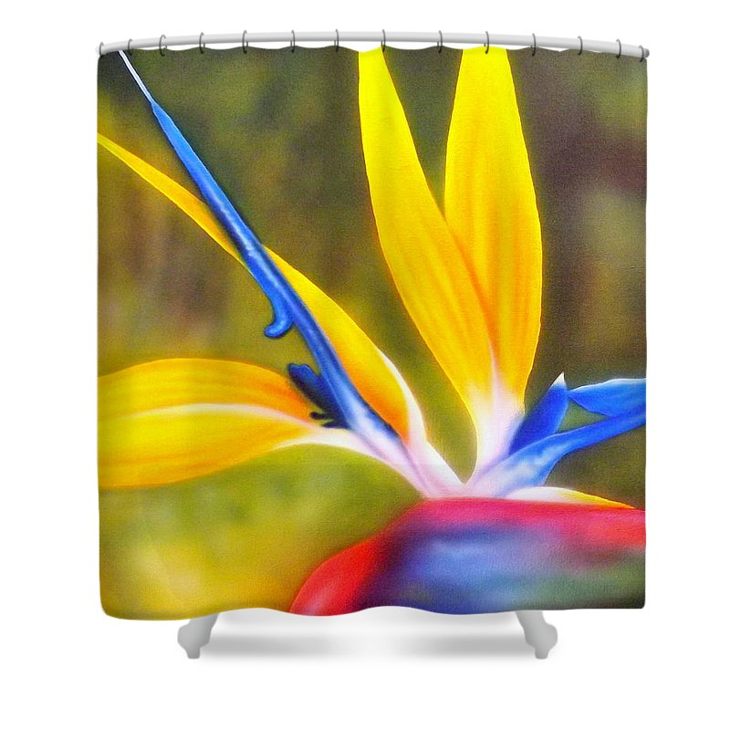 Bird Of Paradise Shower Curtain featuring the painting Bird Of Paradise Revisited by Darren Robinson