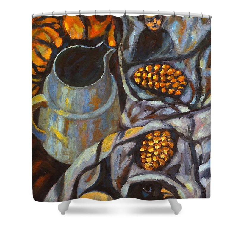 Still Life Shower Curtain featuring the painting Bird Scarf by Kendall Kessler