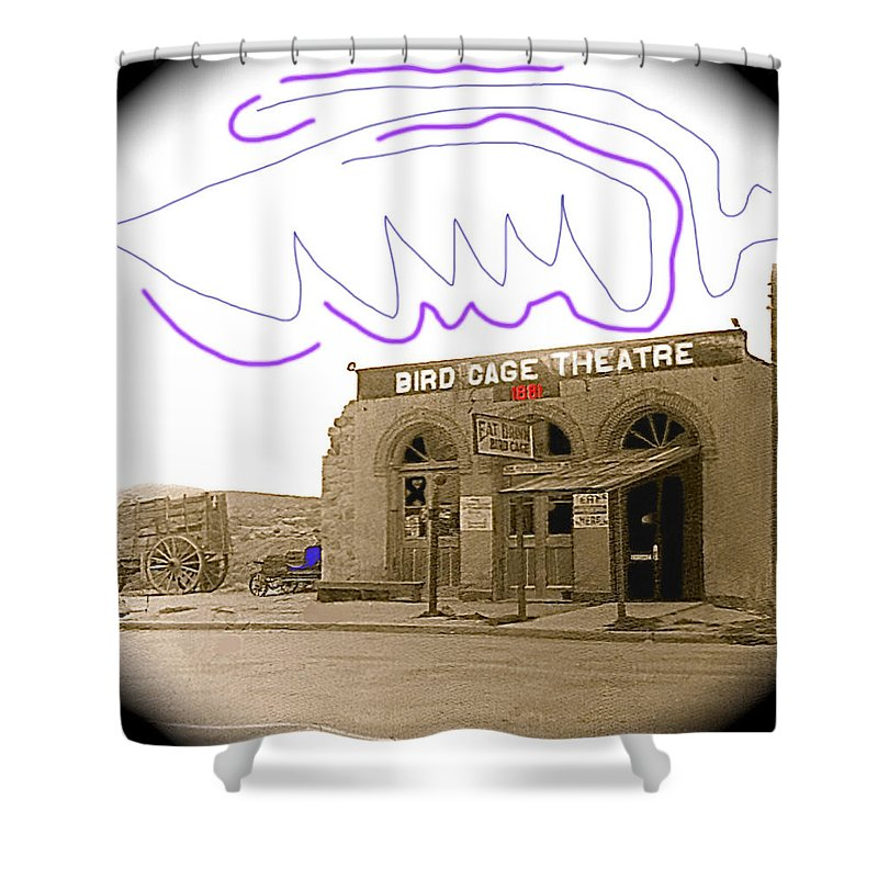 Birdcage Theater Number 1 Tombstone Arizona C.1934 Sepia Toned Color Drawing Added Miniature Vignetted Shower Curtain featuring the photograph Birdcage Theater Number 1 Tombstone Arizona C.1934-2008 by David Lee Guss