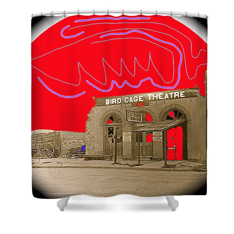 Birdcage Theater Number 2 Tombstone Arizona C.1934 Drawing Color Added Vignetted Miniature Shower Curtain featuring the photograph Birdcage Theater Number 2 Tombstone Arizona C.1934-2009 by David Lee Guss