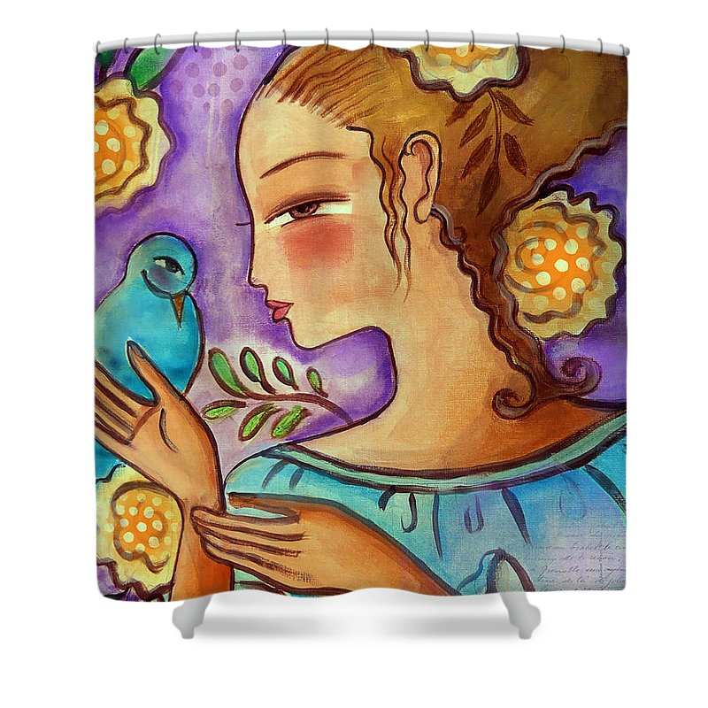 Flowers Shower Curtain featuring the mixed media Birdie by Elaine Jackson