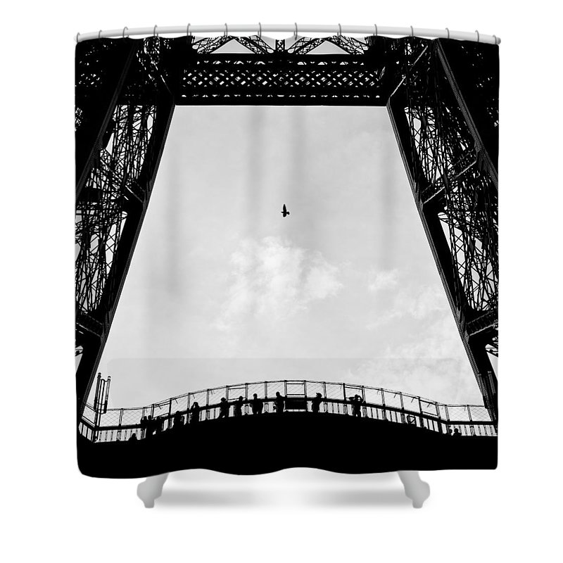 Eiffel Tower Shower Curtain featuring the photograph Birds-eye View by Dave Bowman