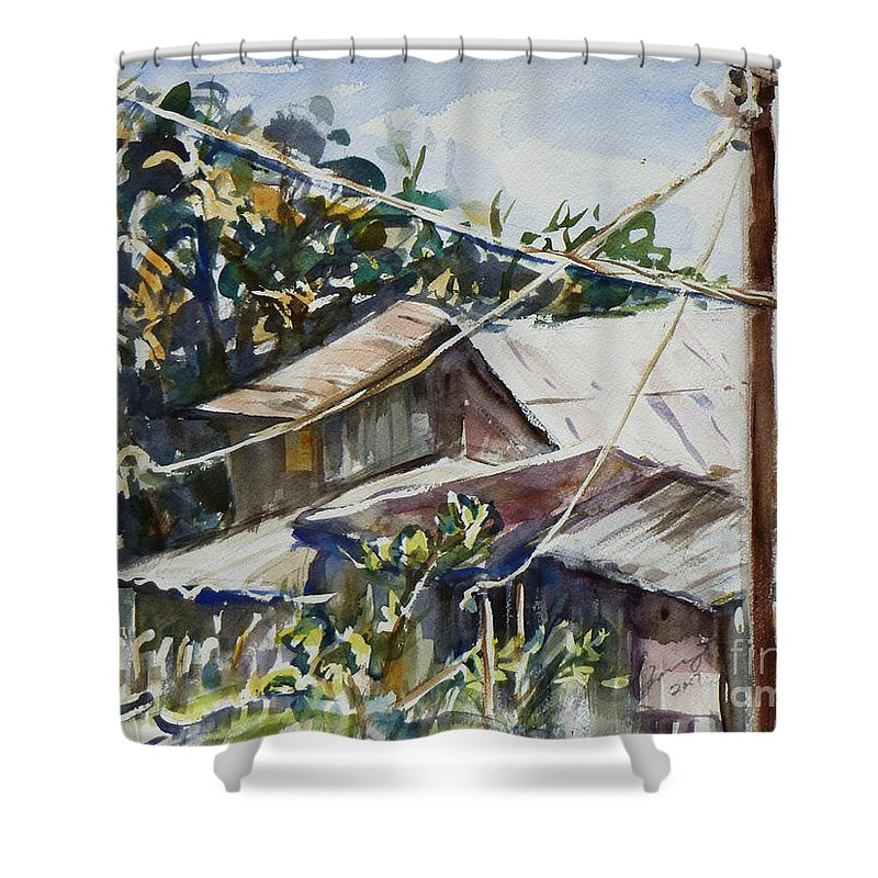 Landscape Shower Curtain featuring the painting Bird's Eye View by Xueling Zou