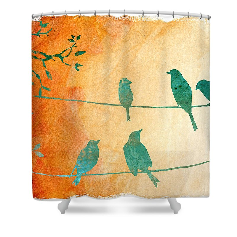 Birds Shower Curtain featuring the digital art Birds Gathered On Wires-5 by Jean Plout