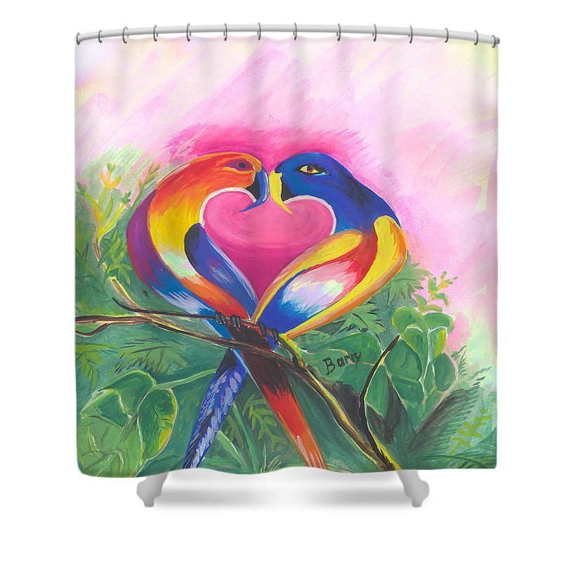 Love Shower Curtain featuring the painting Birds In Love 02 by Emmanuel Baliyanga