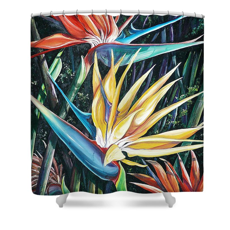 Caribbean Paintings Flower Paintings Bird Of Paradise Paintings  Lily Tropical Paintings Caribbean Flower Paintings Tropical Paintings Tropical Flower Paintings Greeting Card Paintings Canvas Print Paintings Poster Print Paintings Bloom Colorful Shower Curtain featuring the painting Birds Of Paradise 2  Sold by Karin Dawn Kelshall- Best