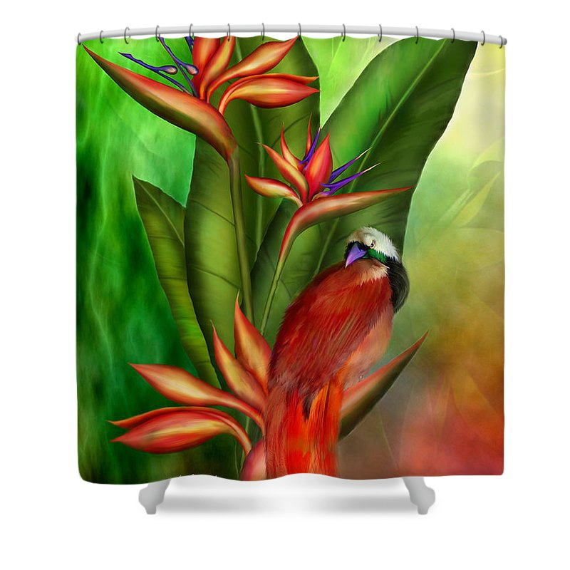 Bird Of Paradise Plant Shower Curtain Featuring The Mixed Media Birds By Carol Cavalaris