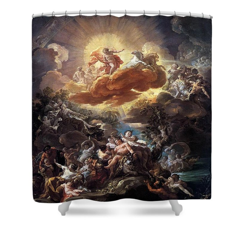Birth Of The Sun Shower Curtain Featuring The Painting Birth Of The Sun By  Corrado Giaquinto