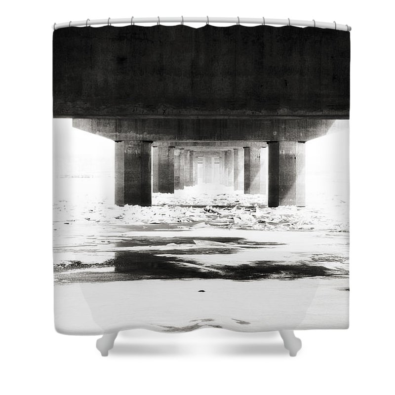 River Shower Curtain featuring the photograph Black And Ice by IMH Photog