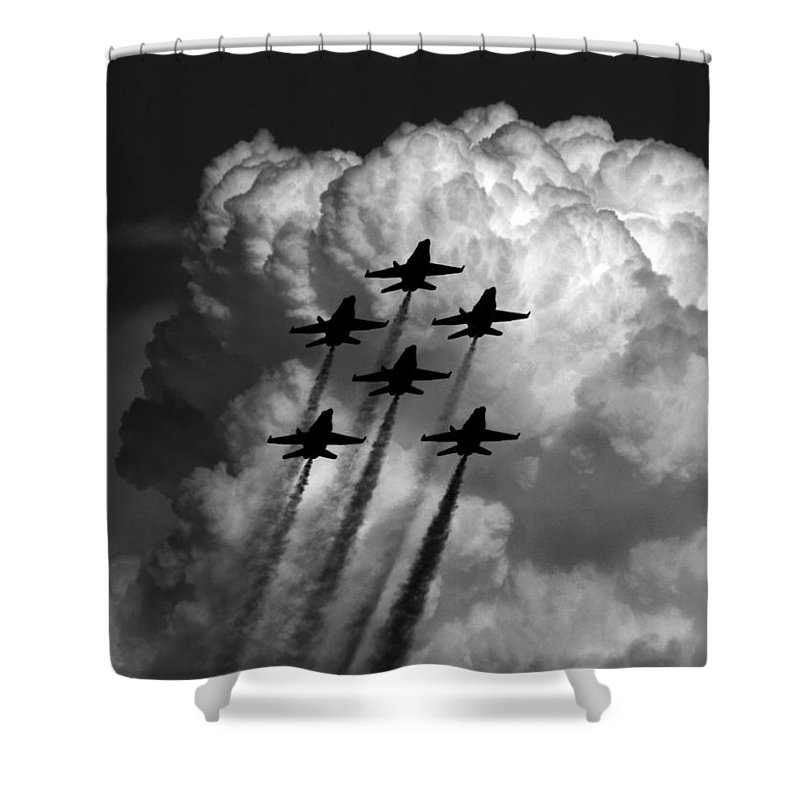 Aviation Art Shower Curtain featuring the photograph Black And White And Blue Angels by Strato ThreeSIXTYFive