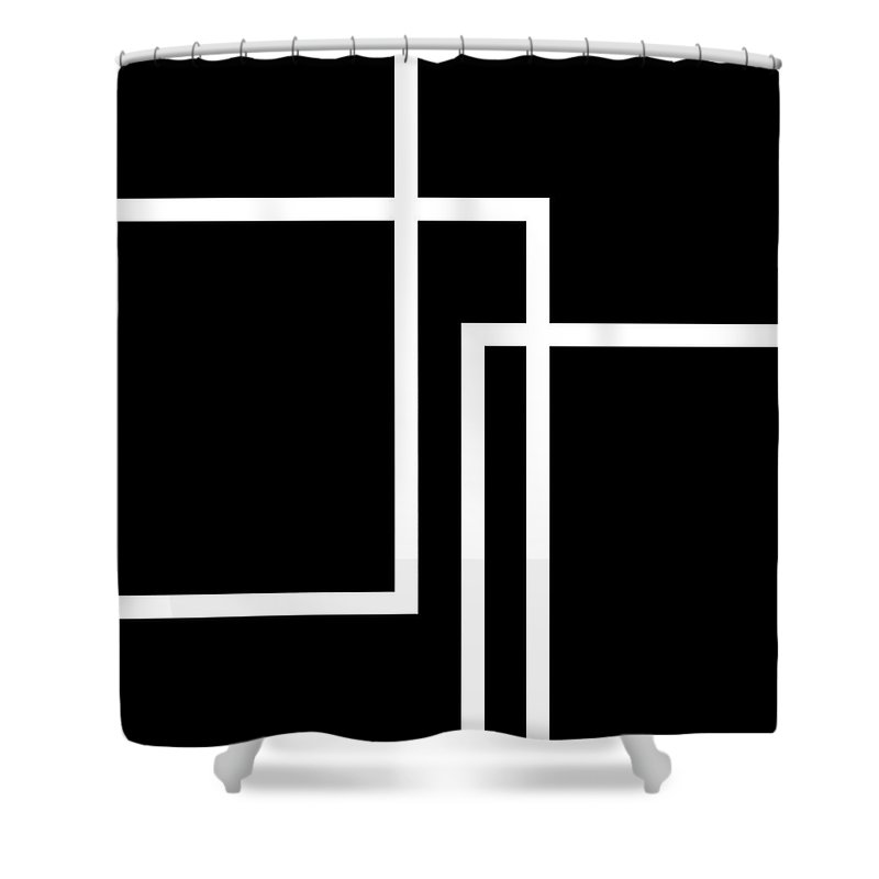 Black And White Shower Curtain featuring the digital art Black And White Art - 134 by Ely Arsha