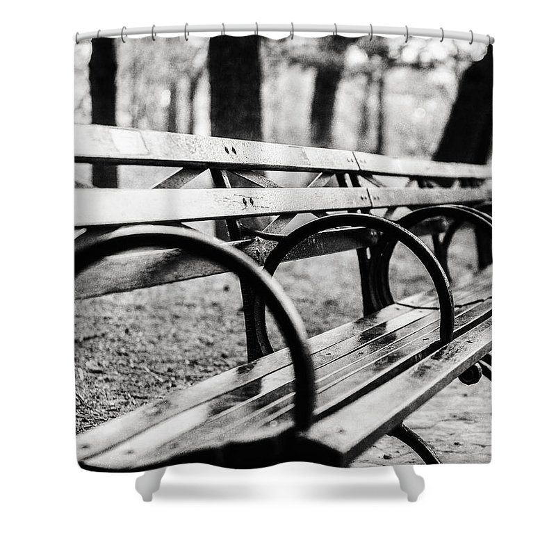 Black And White Central Park Bench In New York City Shower Curtain