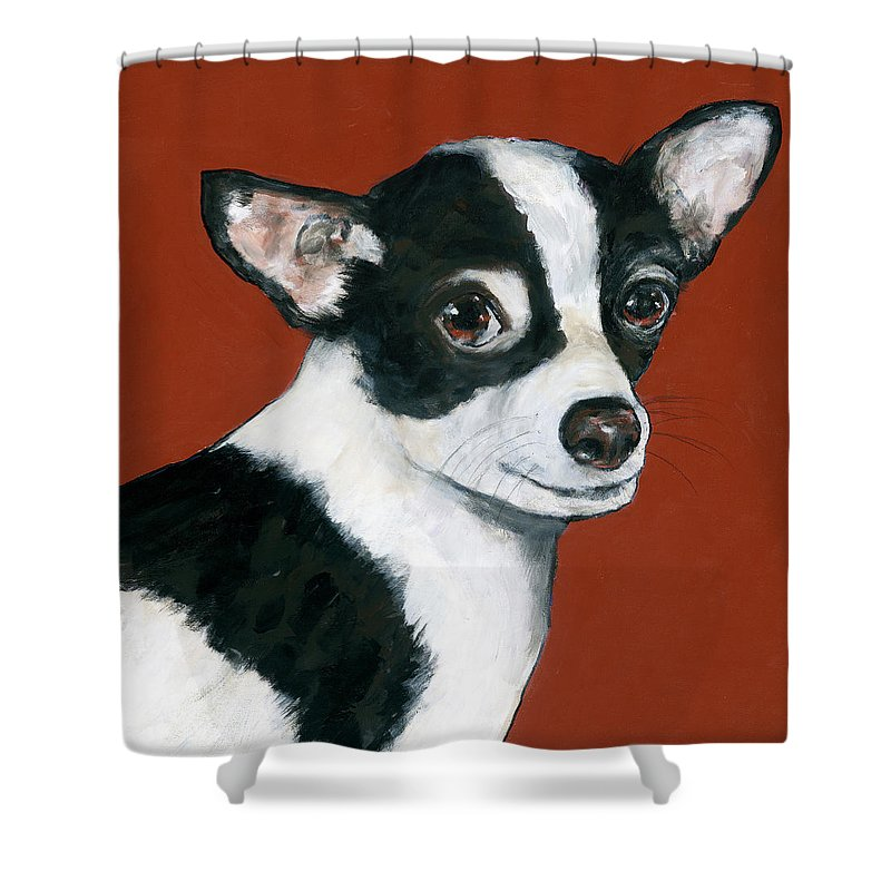 Black And White Chihuahua Shower Curtain Featuring The Painting By Dale Moses