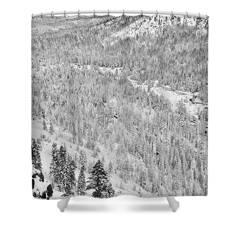 Adventure Shower Curtain featuring the photograph Black And White Lake Tahoe California Covered In Snow During The Winter by Brandon Bourdages