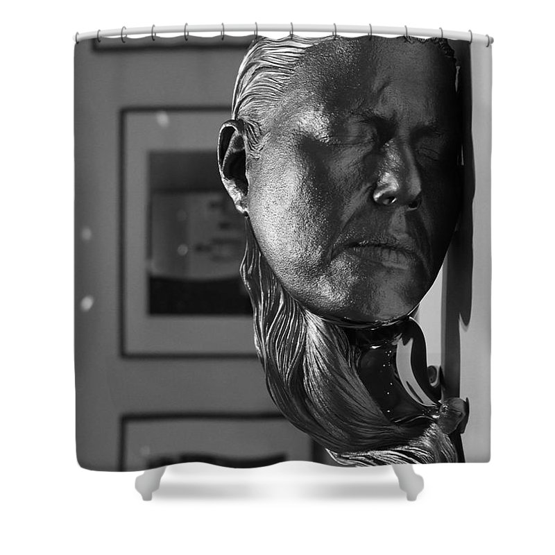 Black & White Shower Curtain featuring the photograph Black And White Mask by Michael Saunders