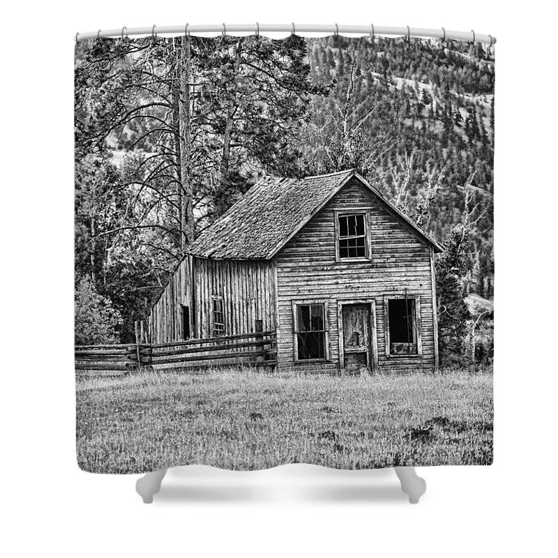 Black And White Old Merritt Farmhouse Shower Curtain For Sale By Randy Harris