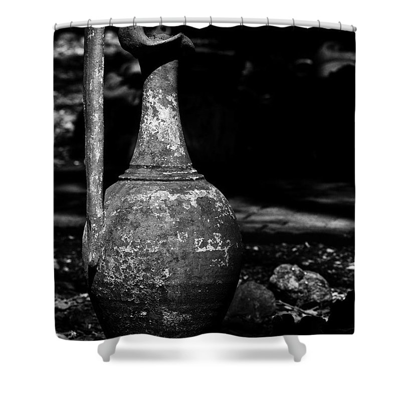B&w Shower Curtain featuring the photograph Black And White Pitcher by Jay Droggitis