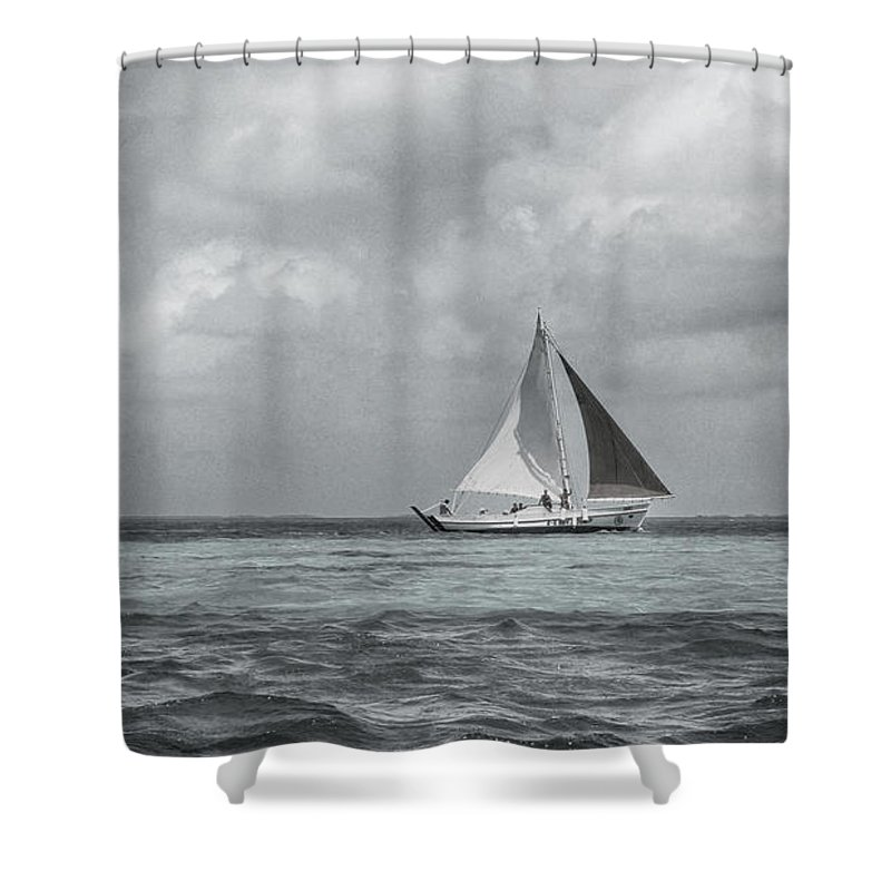 Black And White Boat Prints Shower Curtain Featuring The Photograph Sail By