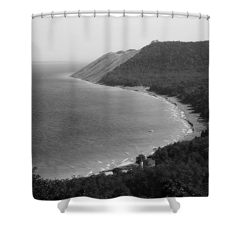 Sleeping Bear Dunes Lakeshore Shower Curtain featuring the photograph Black And White Sleeping Bear Dunes by Dan Sproul