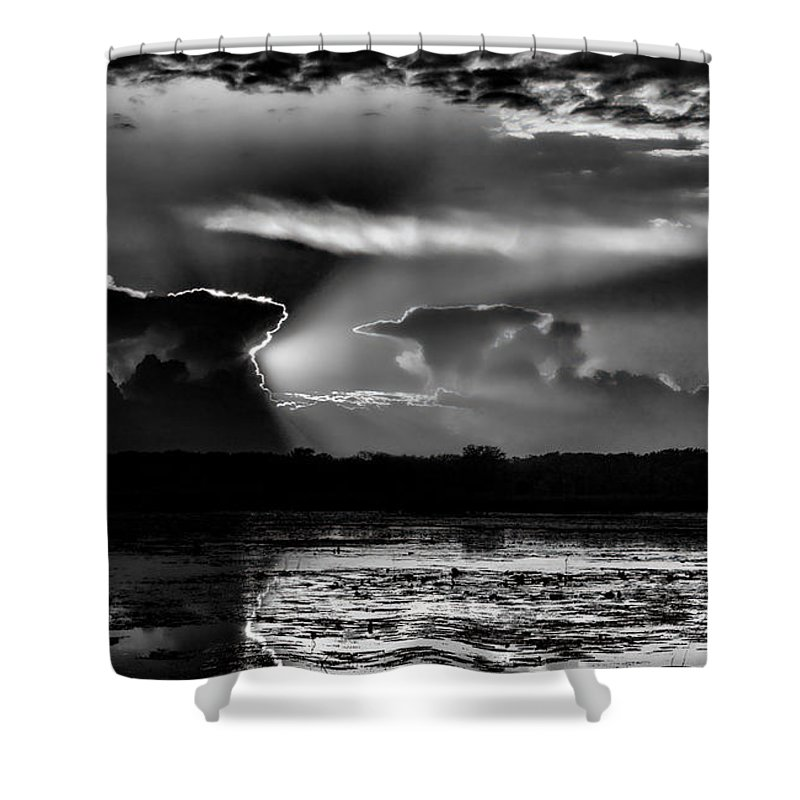 Dale Kauzlaric Shower Curtain featuring the photograph Black And White Sunset Over The Mead Wildlife Area by Dale Kauzlaric