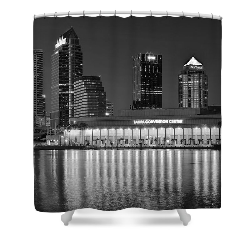 Tampa Shower Curtain featuring the photograph Black And White Tampa Night by Frozen in Time Fine Art Photography