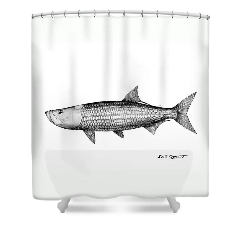 Tarpon Shower Curtain featuring the drawing Black And White Tarpon by Steve Ozment