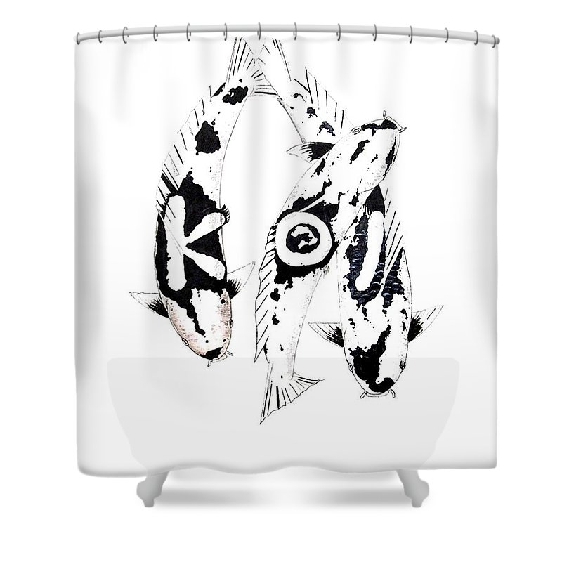 Tattoo Nishikigoi Carp Koi Paintint Art Kichi Gordon Lavender Waddinton Chinese Eight 8 Painting Japanese Koi.utsuri Mono.japan Koi.carp.black And White.kohaku.tancho.ogon.hi. Shower Curtain featuring the painting Black And White Trio Of Koi by Gordon Lavender