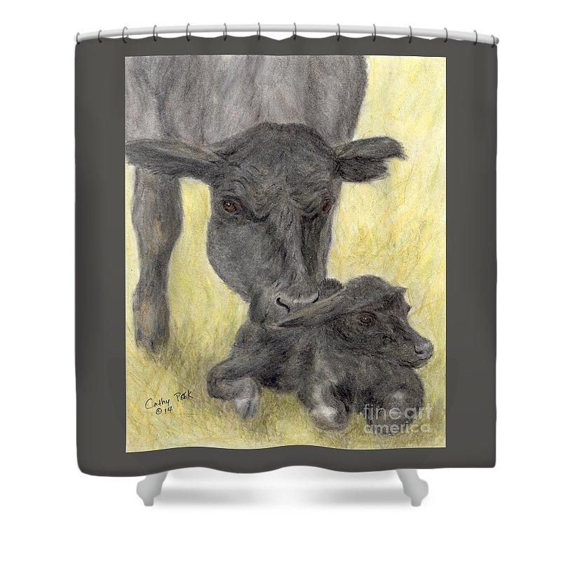 Shower Curtain Featuring The Painting Black Angus Cow Calf Farm Animal Art By Cathy Peek