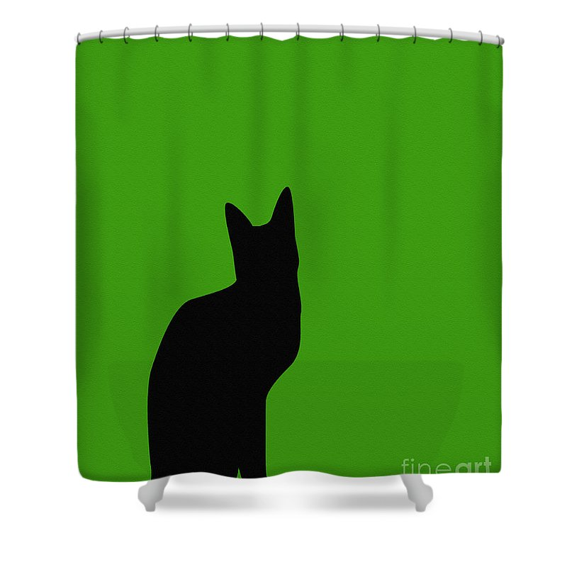 Black Cat On Lime Green Background Shower Curtain featuring the digital art Black Cat On Lime Green Background by Barbara Griffin