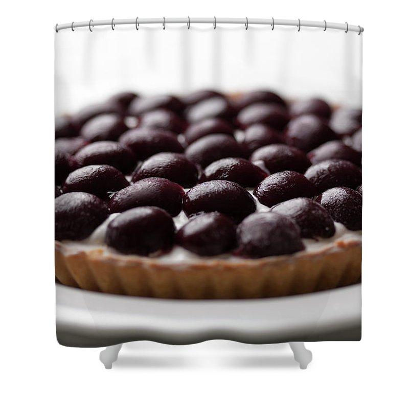 Cherry Shower Curtain featuring the photograph Black Cherry Tart Studio Shot by Kazuhiro Tanda