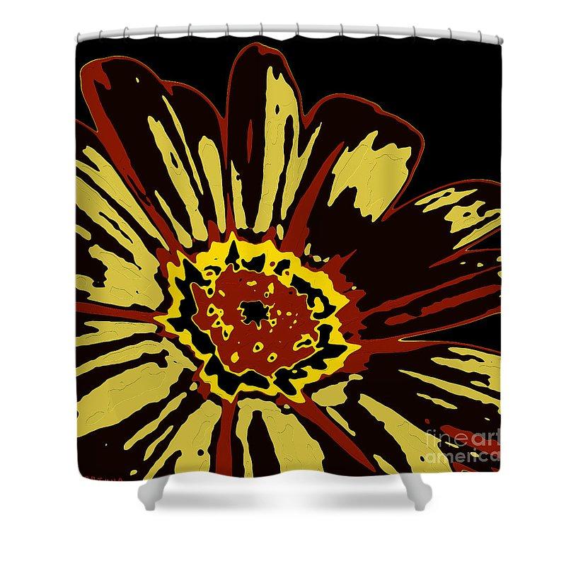 Flower Shower Curtain featuring the digital art Black Eye Susanna by Dragica Micki Fortuna